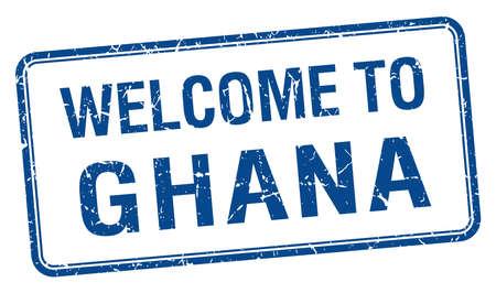 ghana: accueillir au Ghana bleu grunge timbre carr�