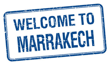 marrakech: welcome to Marrakech blue grunge square stamp