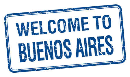 welcome to Buenos Aires blue grunge square stamp Vector