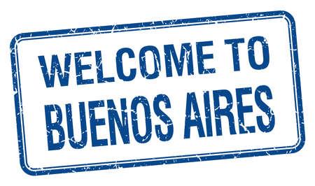 buenos aires: Willkommen in Buenos Aires blau Grunge square stamp Illustration