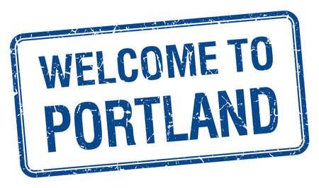 portland: welcome to Portland blue grunge square stamp