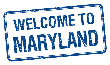 maryland: welcome to Maryland blue grunge square stamp