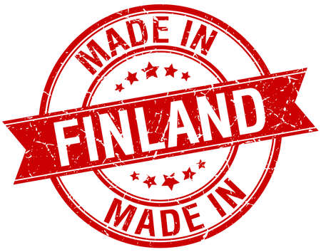 made in finland: made in Finland red round vintage stamp Illustration