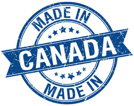 canada stamp: made in Canada blue round vintage stamp Illustration