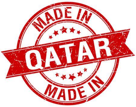 qatar: made in Qatar red round vintage stamp Illustration
