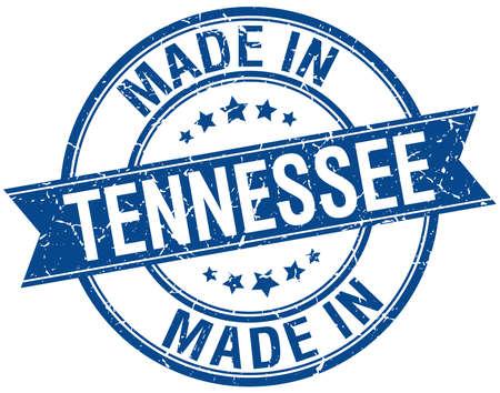 tennesse: hecho en Tennessee cosecha sello redondo de color azul