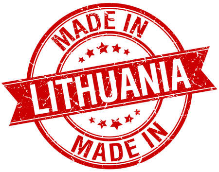 lithuania: made in Lithuania red round vintage stamp