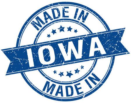 iowa: made in Iowa blue round vintage stamp