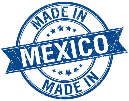 mexico: made in Mexico blue round vintage stamp
