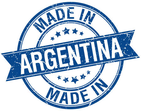 vintage stamp: made in Argentina blue round vintage stamp