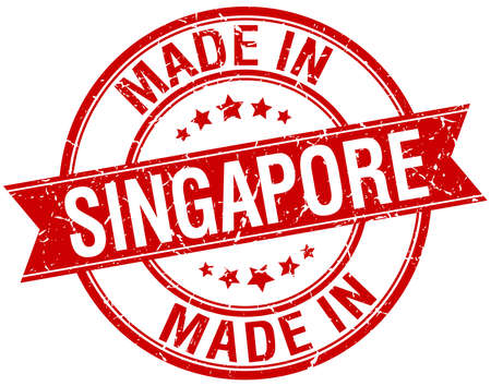 vintage stamp: made in Singapore tondo rosso timbro d'epoca