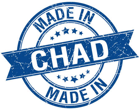 chad: made in Chad blue round vintage stamp Illustration