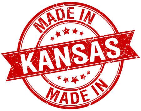 KANSAS: made in Kansas red round vintage stamp
