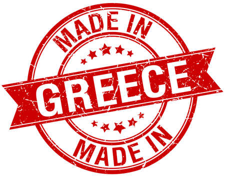 made in Greece red round vintage stamp