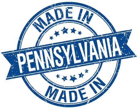 made in: made in Pennsylvania blue round vintage stamp