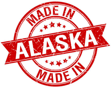vintage stamp: made in Alaska red round vintage stamp Vettoriali