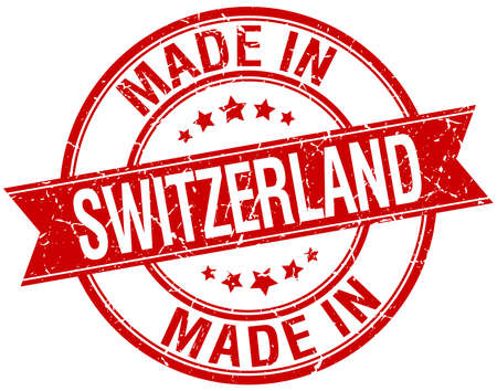 made in: made in Switzerland red round vintage stamp