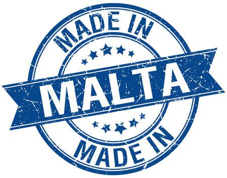 malta: made in Malta blue round vintage stamp Stock Illustratie