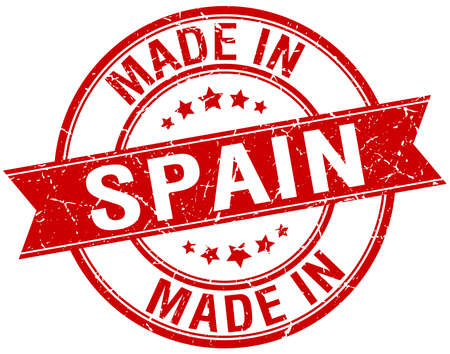 made in spain: made in Spain red round vintage stamp