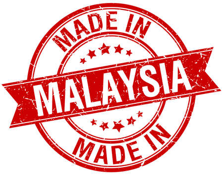 em: made in Malaysia red round vintage stamp