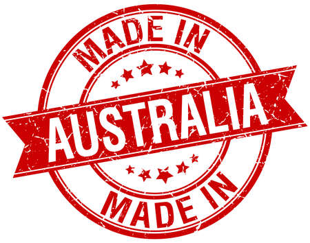 australia stamp: made in Australia red round vintage stamp