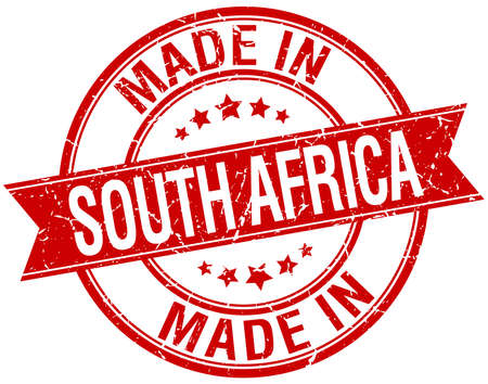 made in South Africa red round vintage stamp 向量圖像