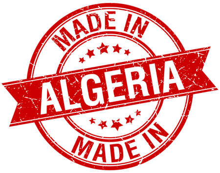 algeria: made in Algeria red round vintage stamp