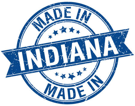 vintage stamp: made in Indiana blu turno timbro d'epoca