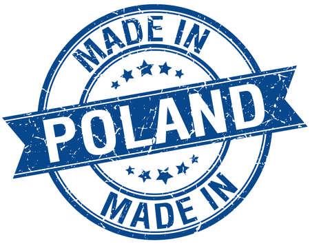 em: made in Poland blue round vintage stamp