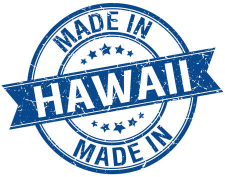 vintage stamp: made in Hawaii blue round vintage stamp