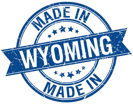 made in: made in Wyoming blue round vintage stamp