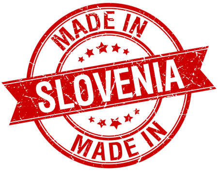 made in Slovenia red round vintage stamp