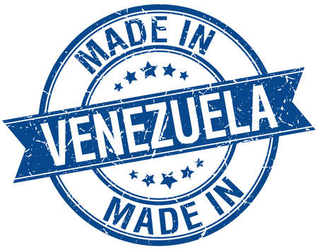 venezuela: made in Venezuela blue round vintage stamp