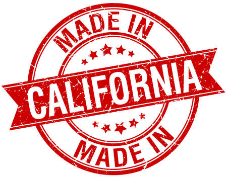vintage stamp: made in California red round vintage stamp