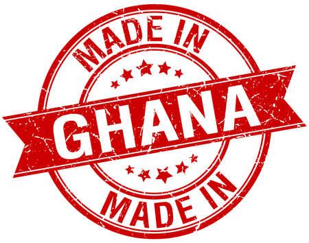 Ghana: made in Ghana red round vintage stamp