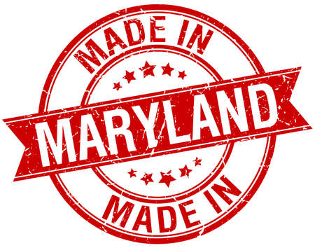 made in: made in Maryland red round vintage stamp Illustration