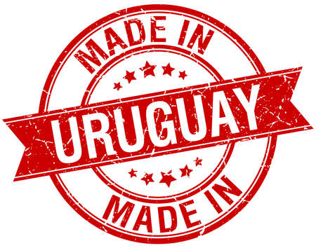 uruguay: made in Uruguay red round vintage stamp
