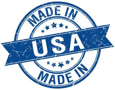 made in usa blue round vintage stamp