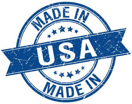 made: made in usa blue round vintage stamp