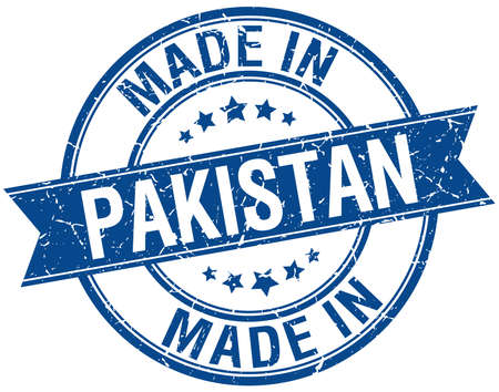 made in: made in Pakistan blue round vintage stamp