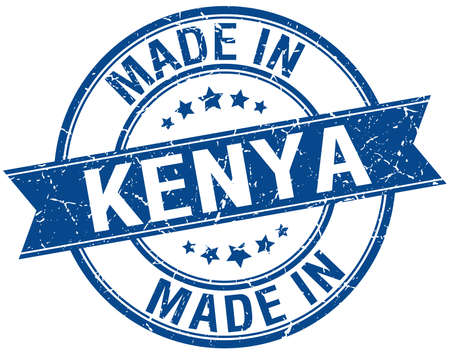vintage stamp: made in Kenya blue round vintage stamp