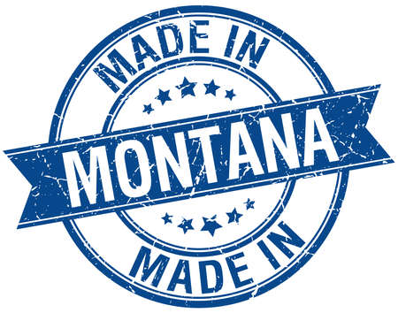 made in: made in Montana blue round vintage stamp Illustration