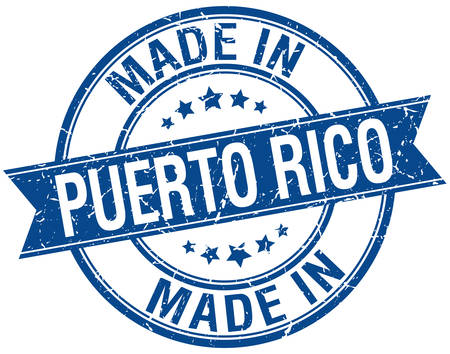 puerto rico: made in Puerto Rico blue round vintage stamp