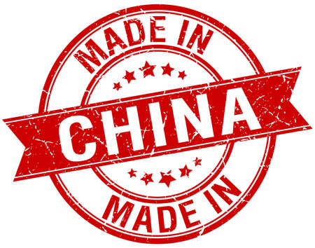 made in china: made in China red round vintage stamp