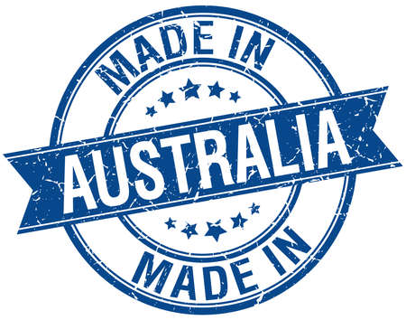 australia stamp: made in Australia blue round vintage stamp
