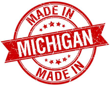 michigan: made in Michigan red round vintage stamp Illustration