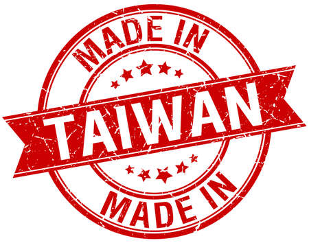 made in: made in Taiwan red round vintage stamp