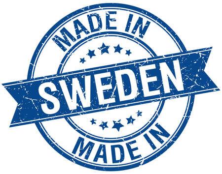 vintage stamp: made in Sweden blue round vintage stamp