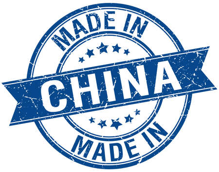 made in China blue round vintage stamp