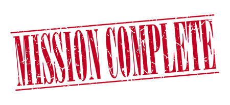 accomplish: mission complete red grunge vintage stamp isolated on white background Illustration